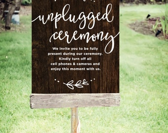 "Unplugged Wedding Sign | Printable Unplugged Ceremony Sign| Instant Download | Wedding Sign Rustic | Poster Size 24""x30"" 