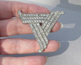 Vintage 1930's Art Deco Rhinestone Pot Metal Silver Tone Pin