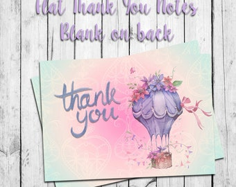 Hot Air Balloon THANK YOU Note CARDS, Digital Printable, Instant Download, Watercolor Design