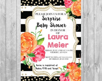Pink and Orange or Purple and Orange Floral Invitation - Digital