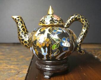 Vintage Mini Cloisonné Tea Pot Collectable