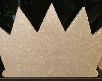 Wood Glitter Crown Wall Decor