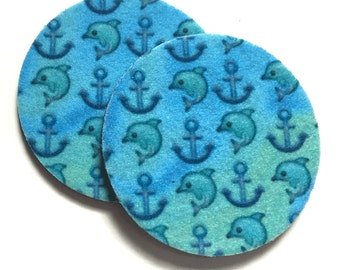 Emoji dolphin and anchor car coasters for your cup holder - Free Shipping - Makes a great gift - Car Beverage Cup Holder Coasters - 2 pack