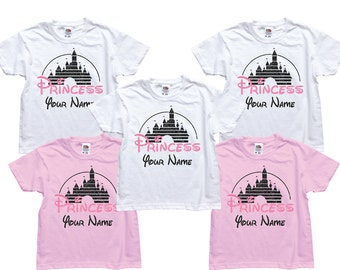 Customized Disney princesses inspired kids birthday party t-shirts with glitter. Very sparkly!