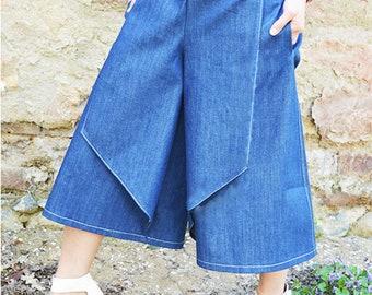 Denim Palazo Pants,Denim Womens Culottes,Summer Pants Women,Denim Wide Leg Pants,Culottes Wide Leg,Culottes Split Skirt,ATTITUDE157,AT00806