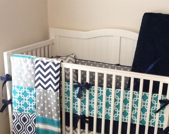 Crib Bedding Turquoise Gray and Navy