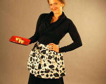 Half Apron with Pockets - Hostess - Eco Friendly - Organic Cotton - Black and White Floral Print - Organic Clothing