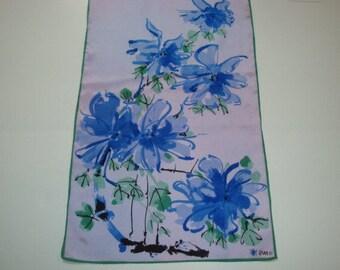 Long Silk Vera Scarf, Purple Asian Floral Oblong