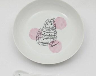 Customizable child porcelain plate and spoon - Petrushka