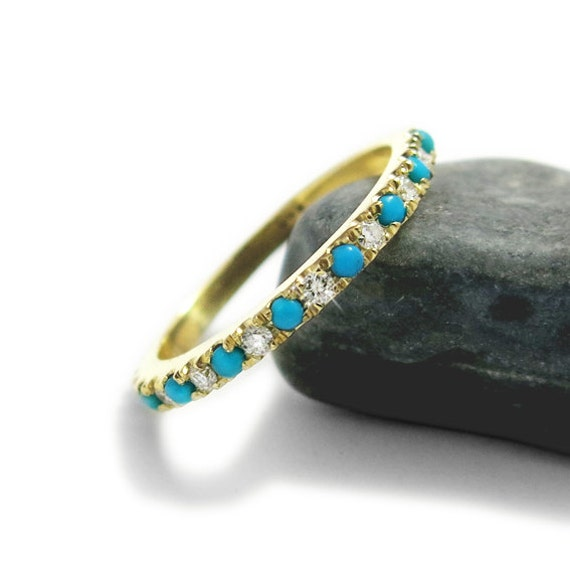 Eternity Wedding Ring Gold turquoise Ring December Ring