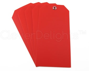 """200 Red Plastic Tags - 4.75"""" x 2.375"""" - Tear-proof and Waterproof -  Inventory Asset ID Price Tags"""