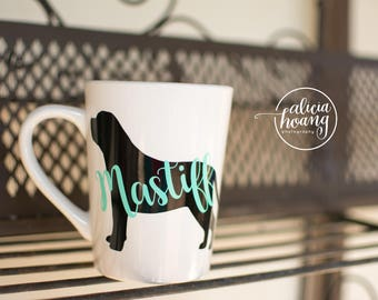 2 Toned Dog Mug, Puppy Mug, Coffee Cup, Personalized Pet's Name Mug, Custom Pet Mug - Dog Lover Gift, Dog Silhouette