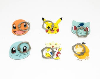 Pokemon phone ring holder, phone stand, phone ring kickstand, universal finger ring holder, pikachu, charmander, squirtle, psyduck