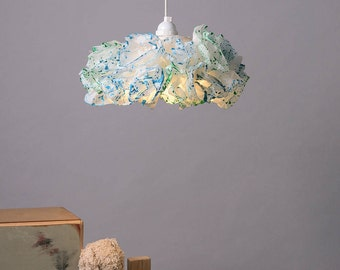 Blue & Green Paper Lamp, Nursery room light, Pendant Light, Teal Nursery Room Decor, Handmade Hanging Lamp, Unique Bedroom Pendant Light