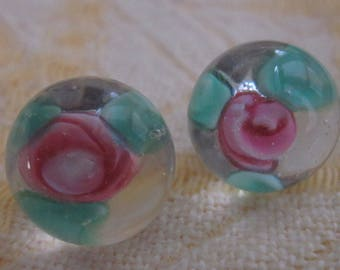 2 Antique Pink Rose Glass Paperweight Buttons