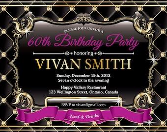 60th birthday invitation for women. Elegant Glitter Gold Birthday Party Invite. Pink, red, purple, black. Any color. Printable digital.