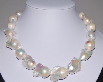 14-16mm large baroque pearl necklace fireball shape