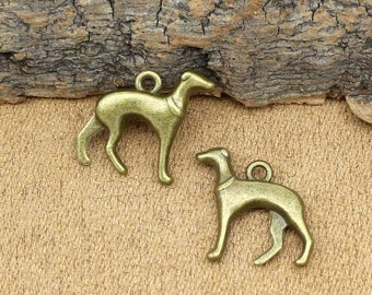 20pcs Dog Charms Antique Bronze Whippet or Greyhound Charms Pendant 19x18mm C2226-T