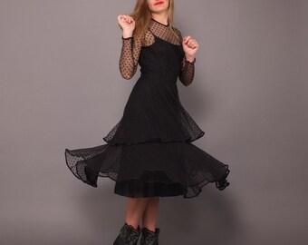 Vintage 80s Jack Bryan Black Sheer Dotted Net Lace Dress Full Skirt
