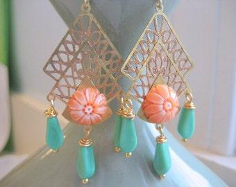 Flamenco dangle earrings, ornate Spanish style brass drops, green dangle chandelier earrings, orange floral dangles