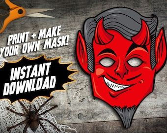 PRINTABLE Devil Mask, kids paper halloween mask, DIY halloween costume parties, Lucifer monster mask, instant download PDF