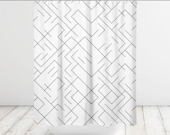 Geometric Lines Black and White Shower Curtain