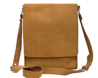 New Beige Suede Leather Messenger Bag Hand Stitched Sewn by Brooklyn Maker