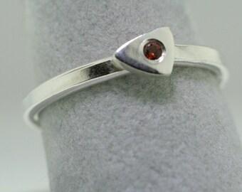 Garnet Sparkle Trinket Ring- Stackable