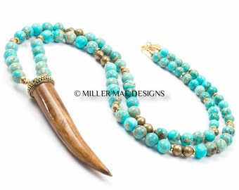 Horn Necklace | Bohemian Necklace | Turquoise Beaded Necklace | Turquoise Horn Necklace | Boho Horn Necklace | Beaded Horn Necklace