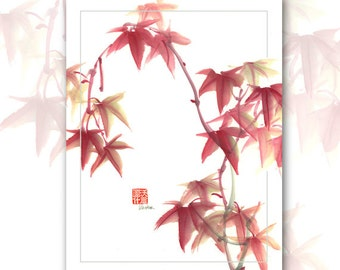 "Watercolor Chinese Brush Painting Cards  ""Japanese Maple"""