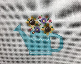 Hand Painted Spring Watering Can Canvas by MyPinkSugarLife