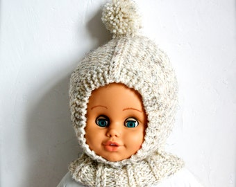 Hand Knitted %100 Wool Balaclava Hat, Baby/ Toddler/ Children Hoodie hat with Neck warmer, Chunky, Helmet Hat with Pom Pom