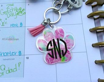 Pawprint keychain, Rose paw print keychain, Paw print keychain, Dog mom keychain, Car accessories, Dog keychain, Keychain, paw print gift,