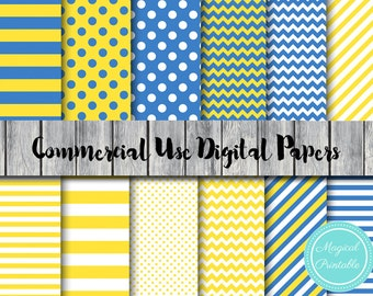 Yellow and Blue Digital Paper, Instant Download Digital Papers, Commercial Use, Scrapbook Digital Papers, Digital Background, DP18