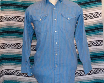 Vintage Prior Westerns Button Front Shirt Blue Striped Large