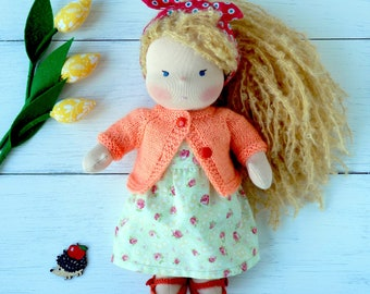 First Birthday gift Waldorf doll Blonde Doll Clothed doll Ready to ship