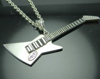 Sterling Silver Guitar Pendant- .925 Sterling Silver Guitar Necklace- Outshine Designs Guitar Necklace