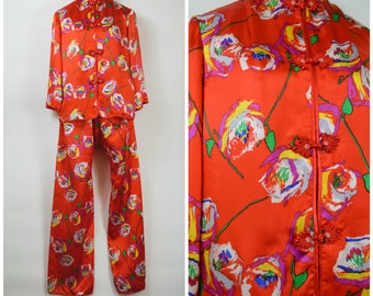 Vintage Asian Pajamas Red Silk with Large Roses Silk Charmeuse Wide Leg PJs Bound Hems Size Medium Frog Closures and Mandarin Collar