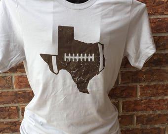 Texas football shirt. Texas t shirt. Silver texas football shirt. Southern shirt. Texas cotton shirt. Distressed football shirt.