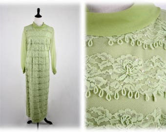 1960s Lace and Beads Celery Green Long Evening Dress Bridal by Jack Bryan Made in Hong Kong