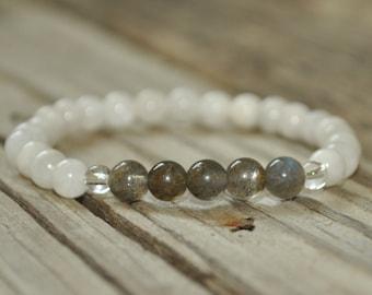 Moonstone and Labradorite, Mala Bracelet, Prayer Bracelet, Meditation Bracelet, Intent Bracelet, Crystal Healing, Yoga Bracelet