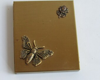 Vintage Brass Photo Compact Frame Flower Butterfly