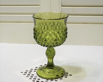 Vintage Diamond Point Wine Glass Avocado Green Indiana Glass Replacement Barware Glassware Mid Century Panchosporch