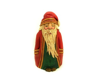 Hand Carved Wood Collectible Heirloom Santa