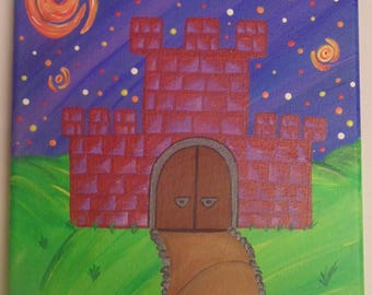 Original OOAK One of a Kind Starry Night Inspired Castle Painting, Moon, Crescent Moon, Brick Castle, Ready to Hang, Blue, Green, Red