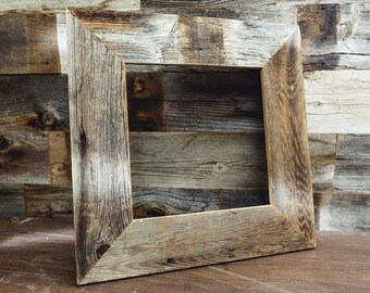"""Rustic 10"""" x 10"""" x 3"""" Wide Barn Wood Frame - Naturally Aged & Weathered Reclaimed Wood Picture Frames - Primitive Farmhouse Decor"""