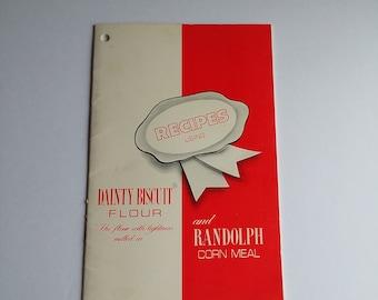 Randolph Dainty Biscuit Flour & Randolph Corn Meal Recipe Booklet, 1960s, MCM Brand Ephemera