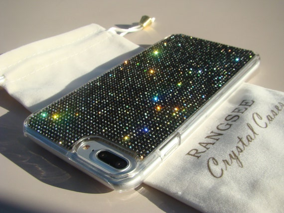 iPhone 8 Plus Case / iPhone 7 Plus Case Black Diamond Rhinestone Crystals on Transparent Clear Case. Velvet Pouch Included,