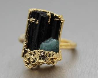 tourmaline ring, black tourmaline, blue tourmaline, raw tourmaline, druzy ring, gold ring, statement ring, druzy gold