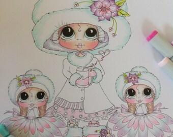 INSTANT DOWNLOAD Digital Digi Stamps Big Eye Big Head Dolls Digi Holiday Twins Besties  By Sherri Baldy